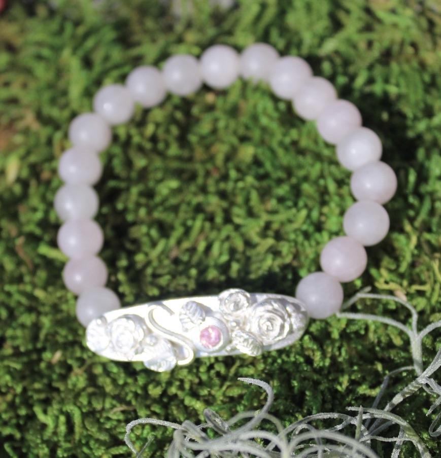 Armband Rosengarten mit Rosenquarz