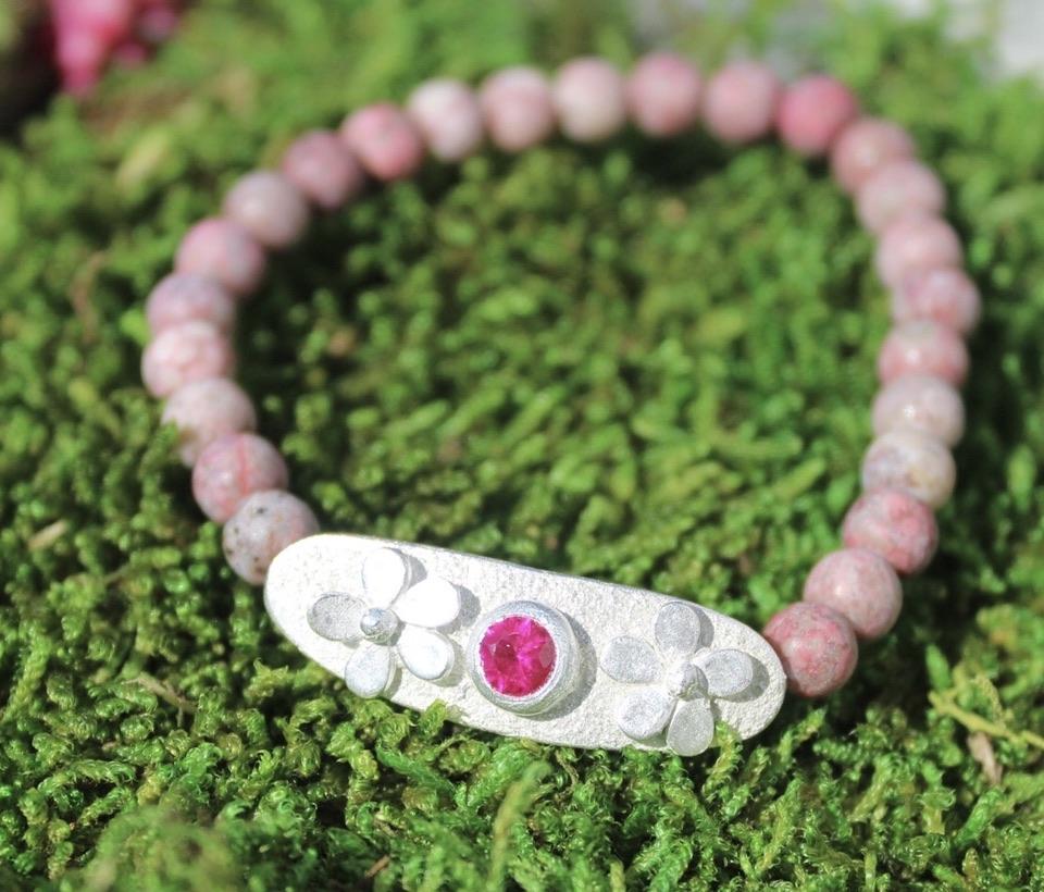 Armband Blumen mit Jaspis